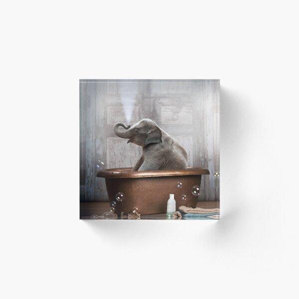 Elephant in Bathtub Acrylic Block