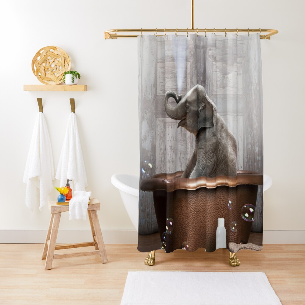 Elephant in Bathtub Shower Curtain