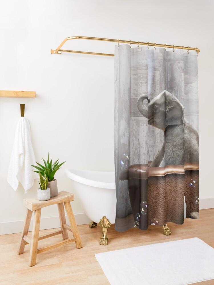 Alternate view of Elephant in Bathtub Shower Curtain