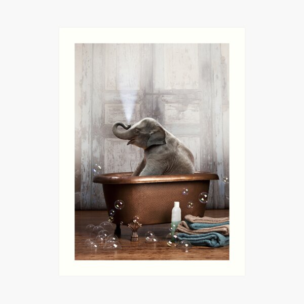 Elephant in Bathtub Art Print