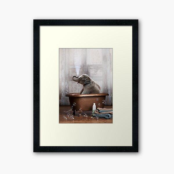 Elephant in Bathtub Framed Art Print
