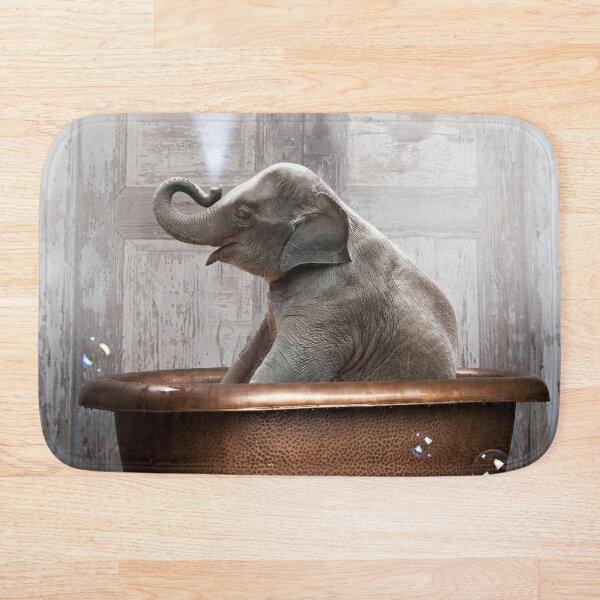 Elephant in Bathtub Bath Mat