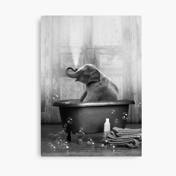 Elephant in Bathtub Canvas Print