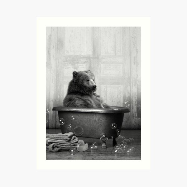 Bear in Bathtub Art Print