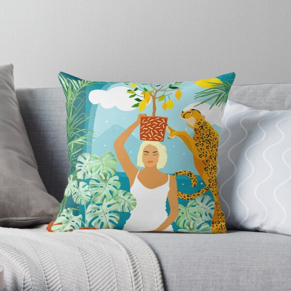 Bring the jungle home #illustration #painting Throw Pillow