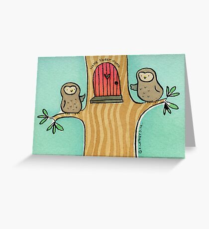 Home Sweet Home Owls Greeting Card
