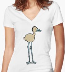 long legged bird Women's Fitted V-Neck T-Shirt