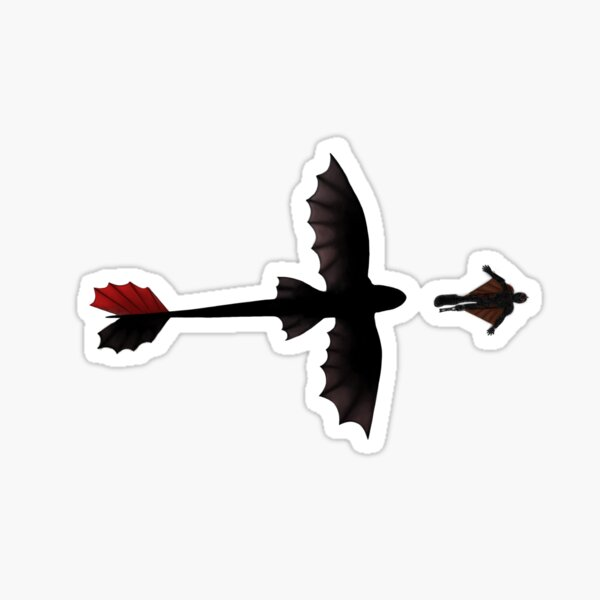 toothless and hiccup flying - how to train your dragon Sticker
