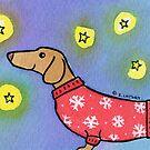 Dachshund Puppy Dog Waiting for Snow by Zoe Lathey