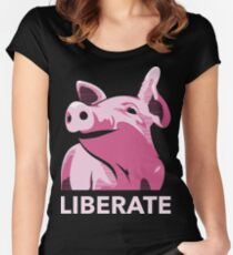 Liberate (Pig, No Background, Electric Pink) Women's Fitted Scoop T-Shirt