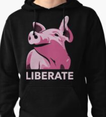 Liberate (Pig, No Background, Electric Pink) Pullover Hoodie