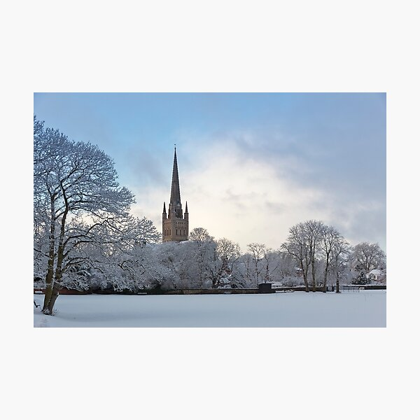 Norwich Cathedral in the Snow Photographic Print