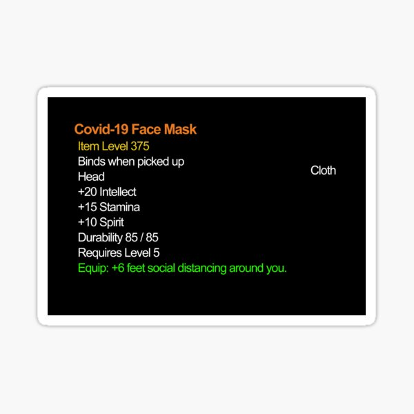 Legendary Covid Face Mask Item Sticker