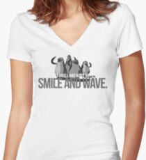 Just Smile and wave Women's Fitted V-Neck T-Shirt