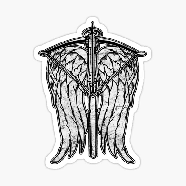 Angel Wings and Crossbow (Dirty) Sticker