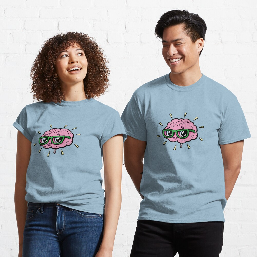rose cute smart brain with glasses Classic T-Shirt