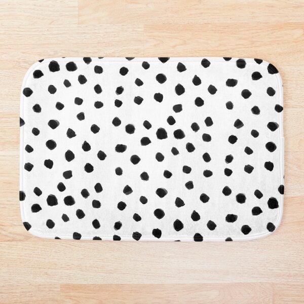 Black Dalmatian spots on a white background pattern Bath Mat
