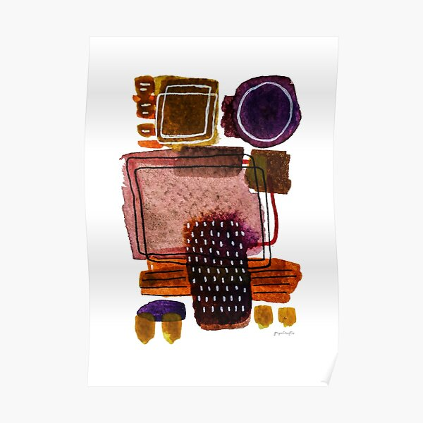 Purple and Brown Watercolour Wall Art, Minimalist Abstract Wall Art Poster