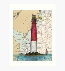 Barnegat Lighthouse NJ Nautical Chart Cathy Peek Art Print