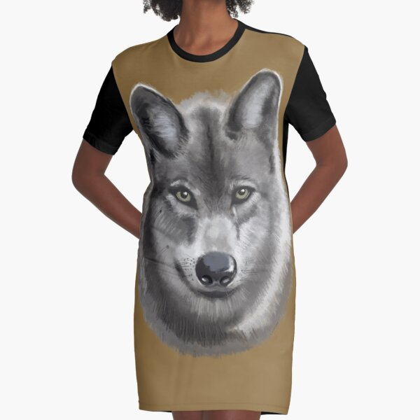 Grey female Wolf Graphic T-Shirt Dress