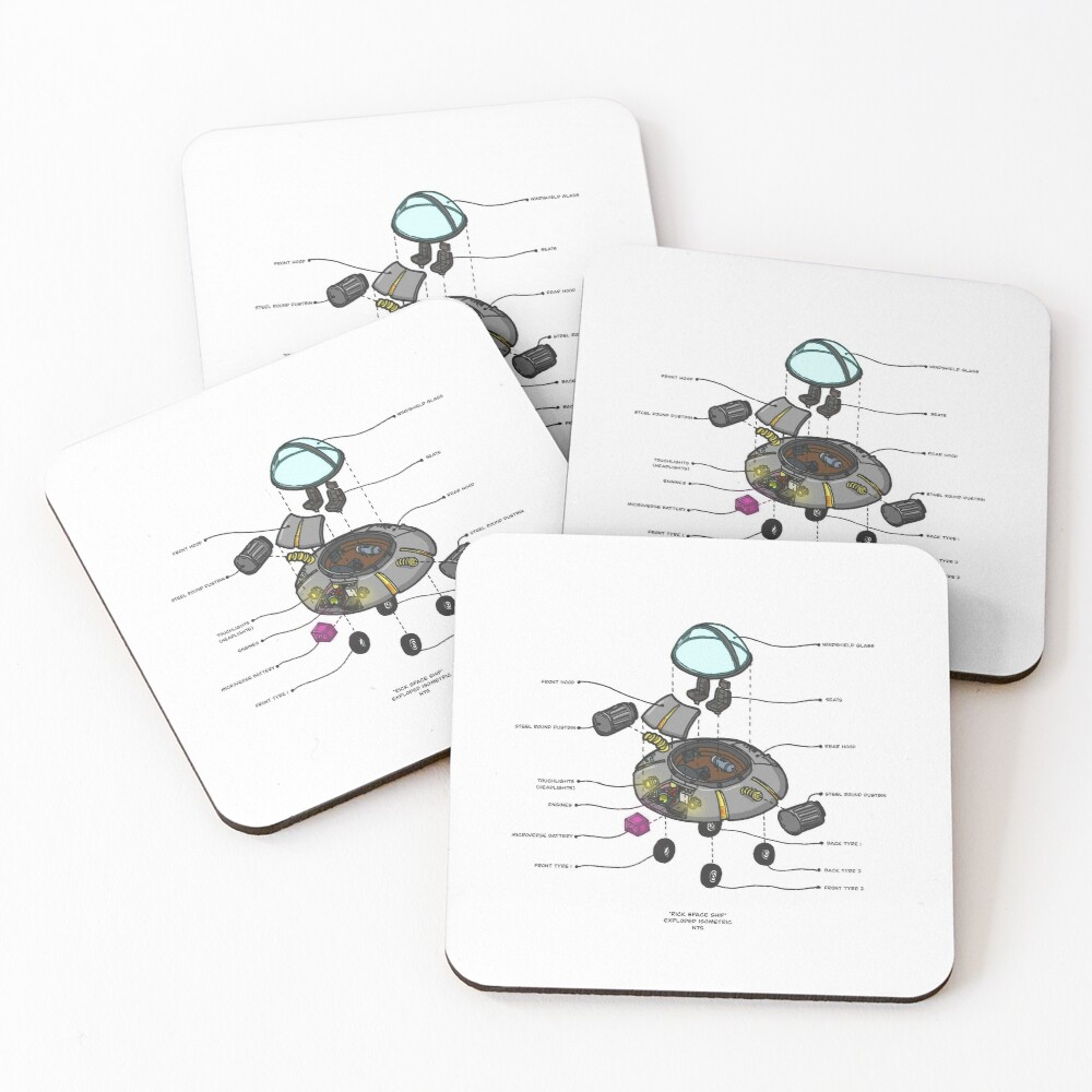 RICK SPACESHIP Coasters (Set of 4)