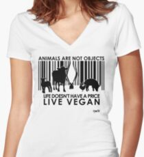 VeganChic ~ Animals Are Not Objects Fitted V-Neck T-Shirt