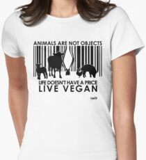 VeganChic ~ Animals Are Not Objects Women's Fitted T-Shirt