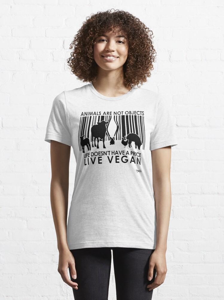 Alternate view of VeganChic ~ Animals Are Not Objects Essential T-Shirt