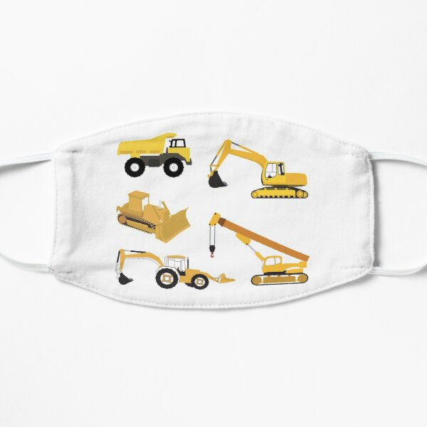 Construction Trucks - Dump Truck, Excavator, Crane, Bulldozer and Backhoe Flat Mask