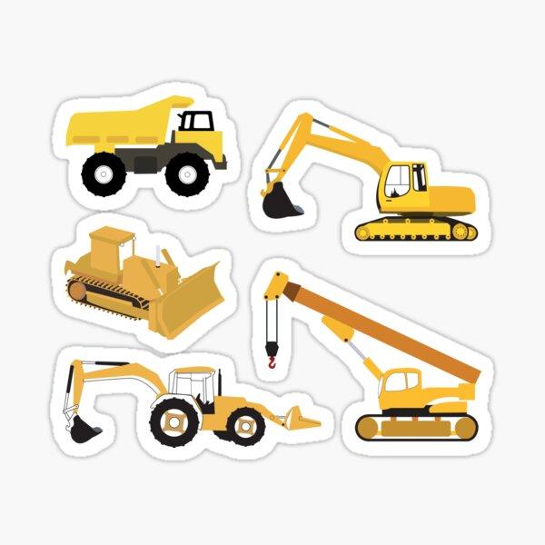 Construction Trucks - Dump Truck, Excavator, Crane, Bulldozer and Backhoe Sticker
