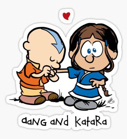 Aang & Katara (Avatar / Calvin & Hobbes) Sticker
