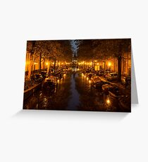 Amsterdam Canal in Golden Yellow Greeting Card
