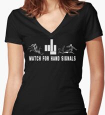 """Funny Snowboarding """"Watch For Hand Signals"""" Dark Women's Fitted V-Neck T-Shirt"""