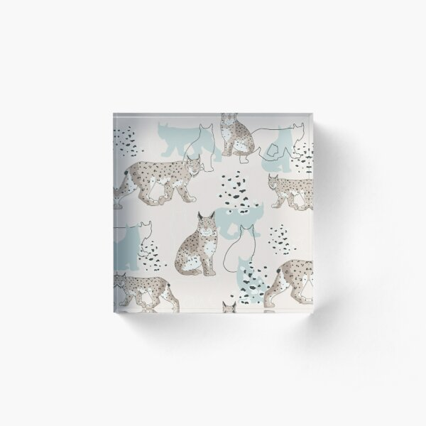 Snowy Lynx  Ice blue Acrylic Block