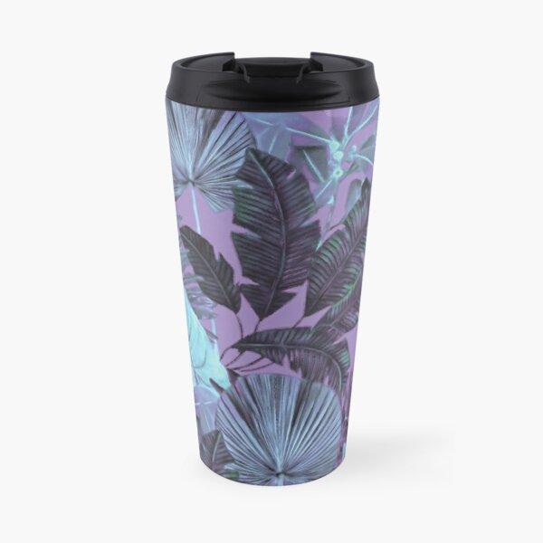 Grand Reverie - Tropical Leaf Aqua Purple Lavender Travel Mug