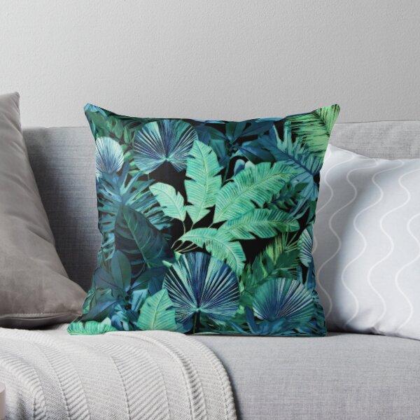 Dark Tropical Pattern Throw Pillow