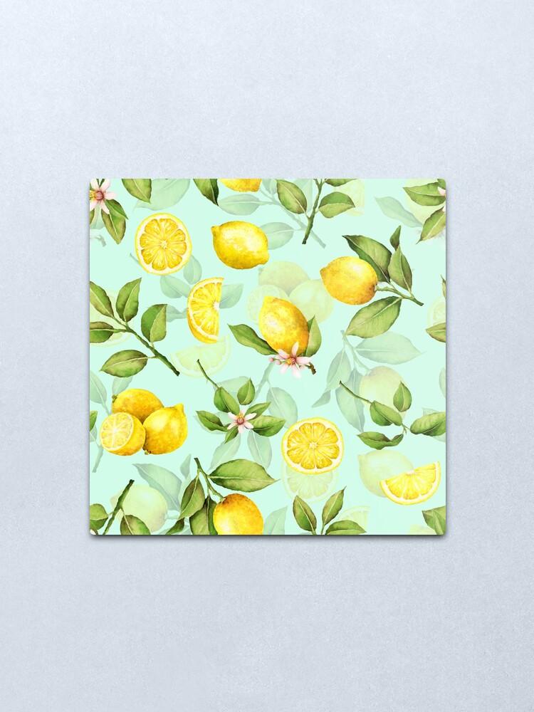 Alternate view of Summer Lemons turqouise Metal Print
