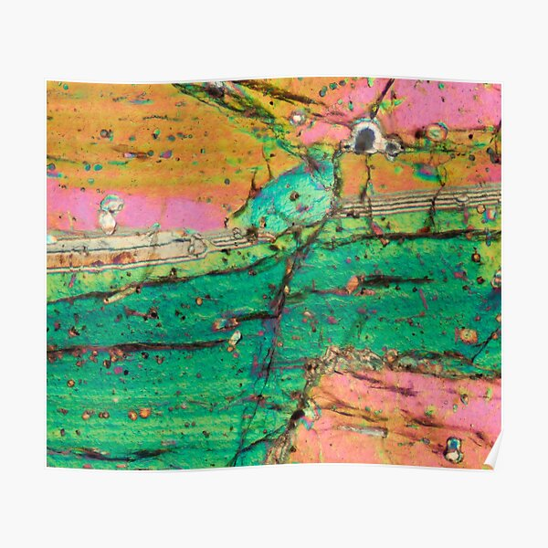 Vesuvius volcano Pyroxene rock thin section microscope photograph - geology gift Poster