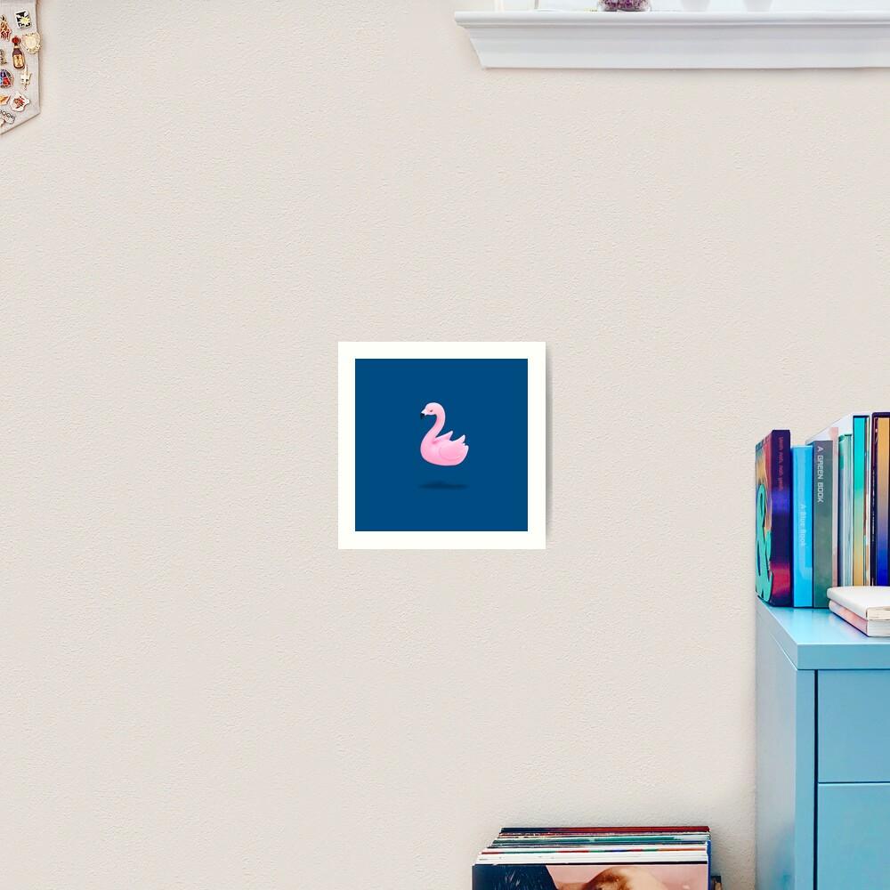 Flying Pink Plastic Flamingo Art Print