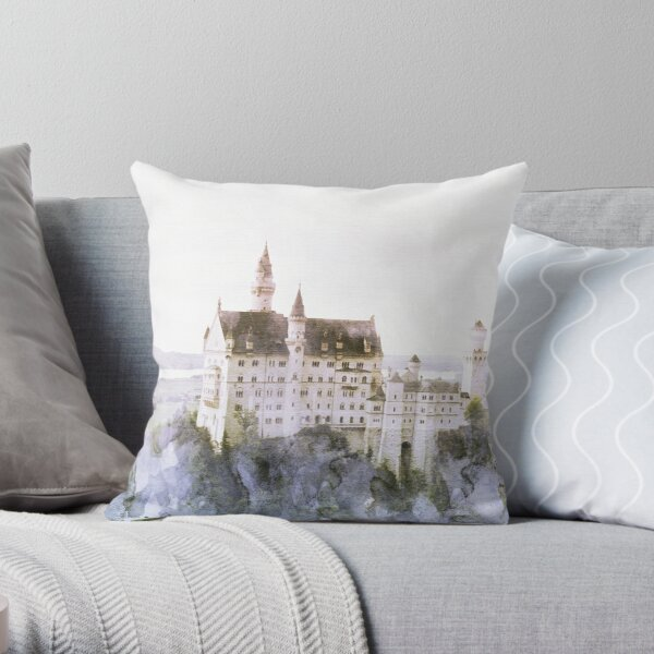 Neuschwanstein Fairy Tale Castle Print Throw Pillow