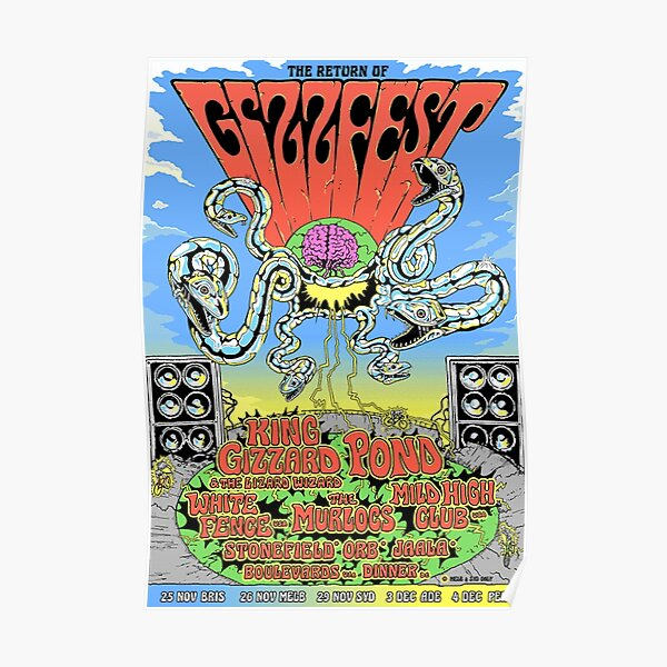 King Gizzard and the Lizard Wizard Gizzfest Art Póster