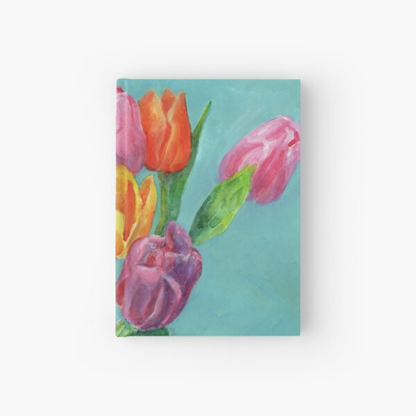 Tulip Bouquet Watercolor Painting Hardcover Journal