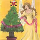 Christmas Angel and Tree by Rebecca Barkley
