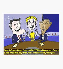Caricature d'Obama Romney et Armstrong Photographic Print
