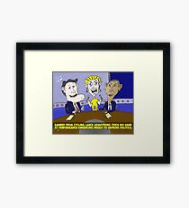 Caricature of Obama Romney and Armstrong Framed Print