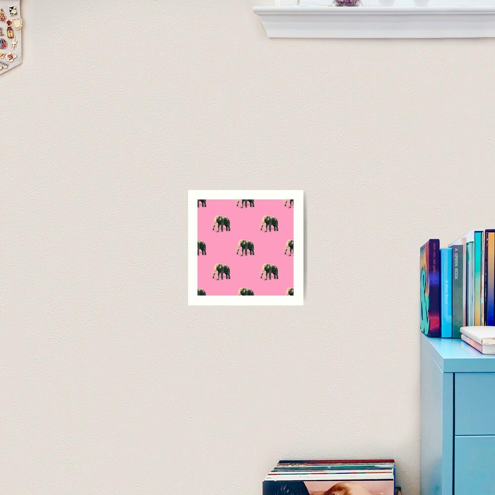Elephants on pink Art Print