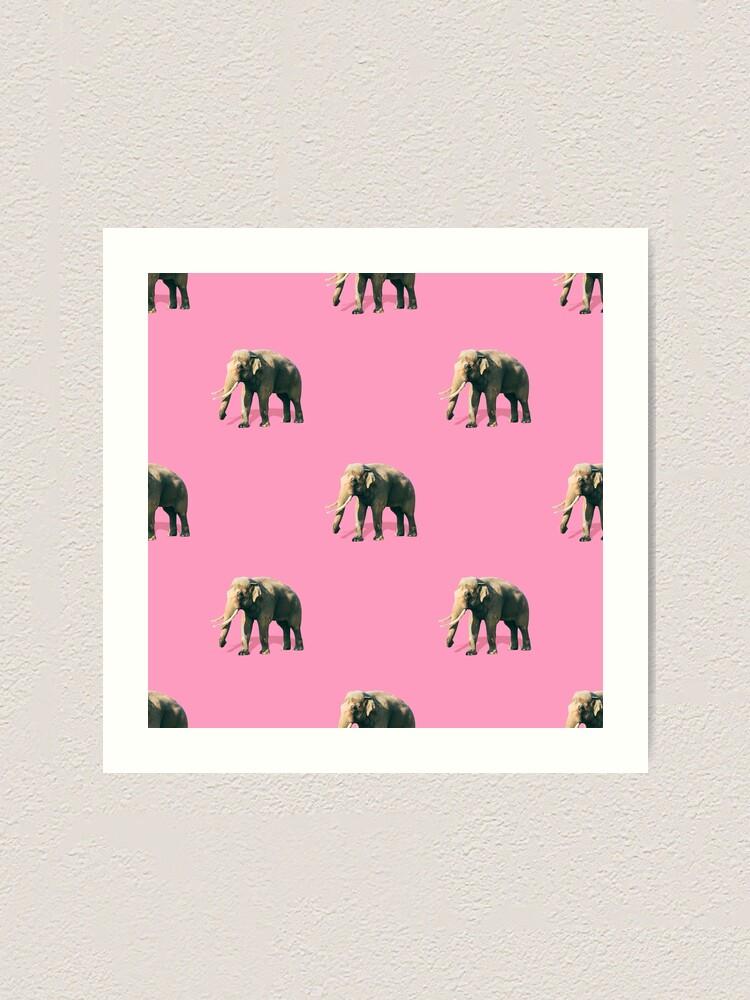 Alternate view of Elephants on pink Art Print