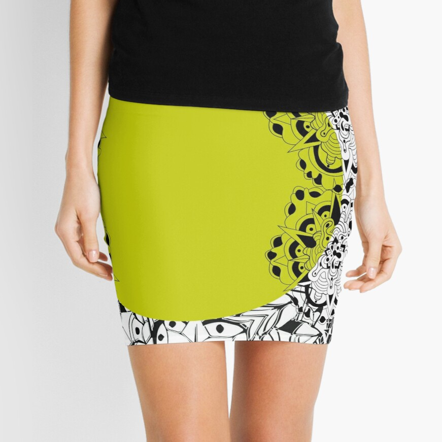 Mandala yellow Mini Skirt