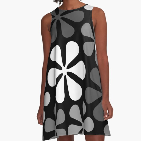 Abstract Flowers Monochrome A-Line Dress