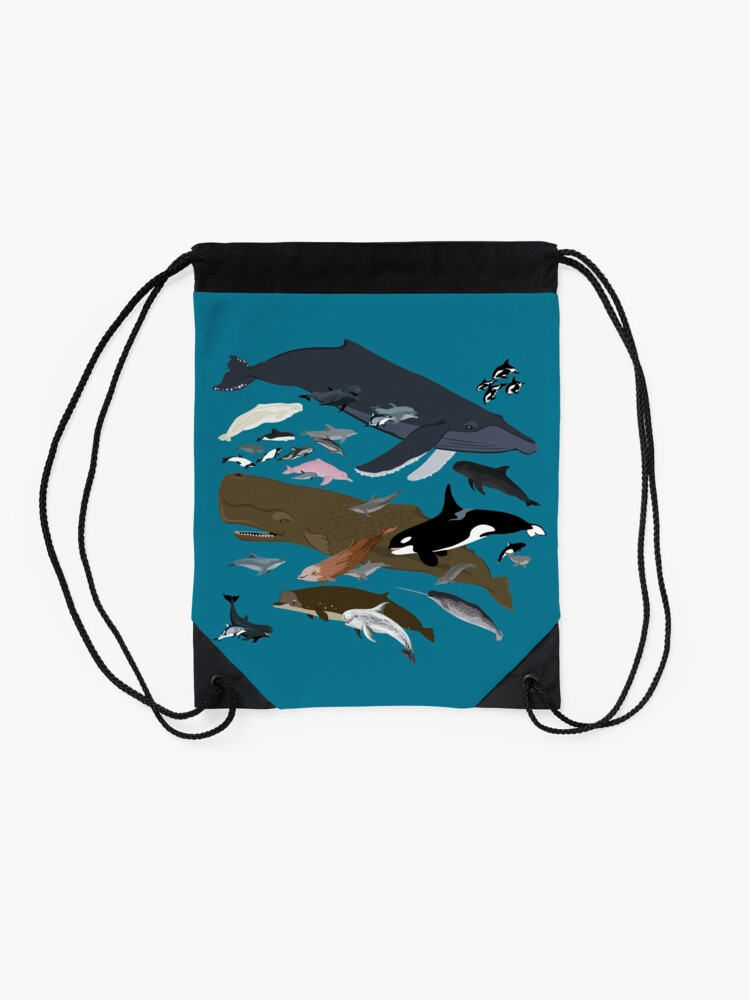 Alternate view of I Am Thankful For Cetaceans Drawstring Bag